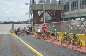 bikers on ferry