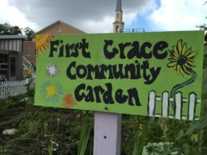 first grace comm garden sign